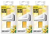 AREON Clima Fresh Ambientador Dulce Vainilla Casa Aire Acondicionado Original Olor Amarillo Hogar Salón Oficina Tienda (Sweet Vanilla Pack de 3)
