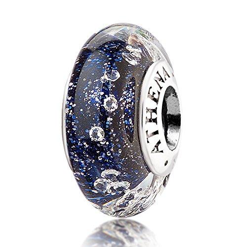 Athenaie, véritable breloque en verre de Murano et argent 925avec plusieurs zircons carrés, perle compatible avec tous les bracelets européens, couleur: bleu foncé