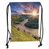 Custom Printed Drawstring Backpacks Bags,Lake House Decor,Rising Sun Over Calm Riverbed with Lush Trees and Meadows Shrubs Hillside Cloudy Sky,Multi Soft Satin,5 Liter Capacity,Adjustable String