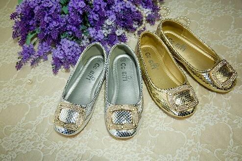 Ohmais Enfants Filles Chaussure cérémonie Ballerines à bride Fête Demoiselle d'honneur Mariage Escarpin plat Babies Doré