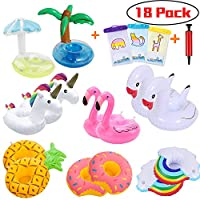 FRETOD Inflatable Drink Holder 14 PACK with Free 1 Inflator and 3 Phone Waterproof Bag Pool Drink Holder for Pool Party