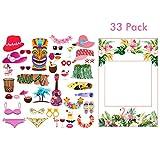 Amycute 33 PCS DIY Photo Booth Props, Apoyos de Fotos Fiesta Hawaiana Marco Photocall Accesorios...