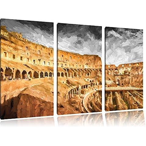 bella Colosseo in ROM3 Splitter tela 120x80 immagine immagine su tela, enorme XXL Immagini completamente Pagina con la barella, stampe d'arte su murale con la struttura, gänstiger come la pittura o pittura ad olio, nessun manifesto o poster