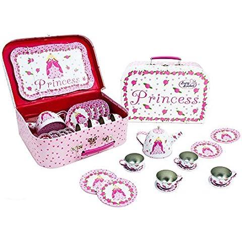 Maletín Juego de Té Picnic en tonos rosas con diseño de princesa de Lucy Locket