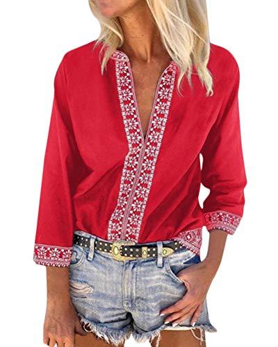 Minetom Damen Böhmen T-Shirt Casual Boho V-Ausschnitt 3/4-Arm Drucken Tunika Tops Chic Lose Hemd Bluse Großformat Oberteil B Rot DE 34 -