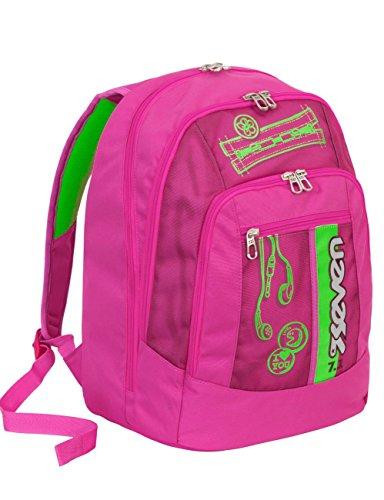 Seven zaino scuola advanced colorful girl - rosa e verde - serigrafia fotoluminescente - 30 lt - inserti rifrangenti