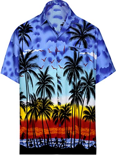La leela | funky camicia hawaiana da uomo | xs - 7xl | maniche corte | tasca frontale | stampa hawaiana | estivo estate spiaggia palme blu_aa106 6xl - torace (in cms) : 172-178