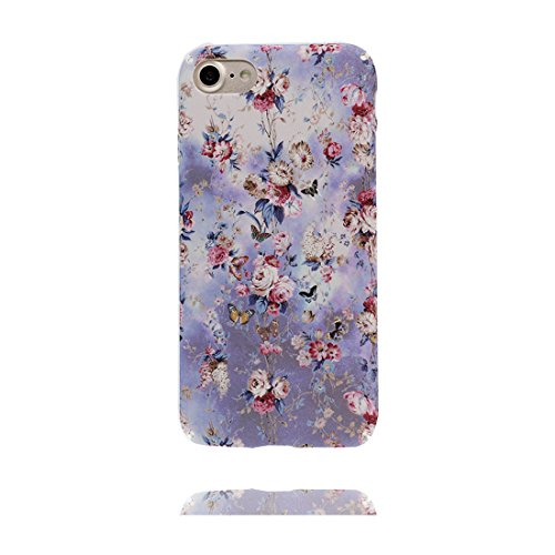 iPhone 7 Custodia, Copertura iPhone 7 4.7, | Peso leggero ultra sottile Silicone Gel Soft Gel | Cartoon Fashion iPhone 7 Case - Elegance Fiore, Antigraffio e ring supporto Color 3