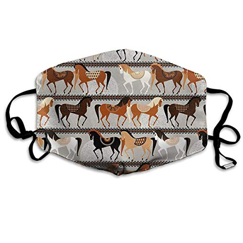 liang4268 Mundmasken Racing Horse Fashion Earloop Face Masks Anti-Dust Anti Flu Pollenm Germs Bacteria Virus Smog Face and Nose Cover with Adjustable Elastic Strap Medical - Horse Racing Kostüm