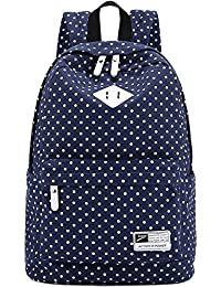 """Canvas Backpack Travel School Shoulder Bag Dot Printing Teenage Girl's Bags for 14""""-15"""" Laptop PC A4 Magazine iPad 3/4/Air (Dark Blue)"""