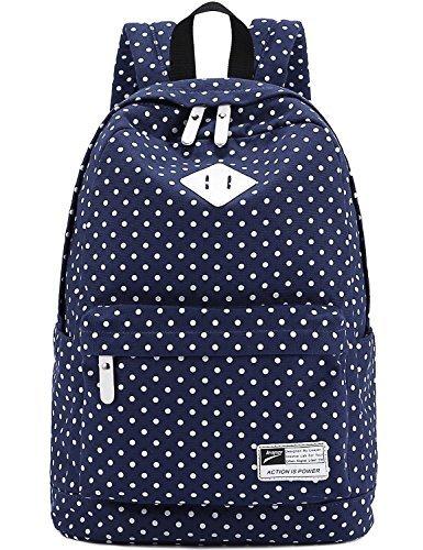 Imagen de  bolsa de hombro bolso de lona  de lunares trendy moda modismo para chichas viaje bolsa para pc portátil revista a4 ipad etc azul oscuro