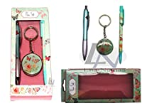 VINTAGE BUTTERFLY BALLPOINT PEN KEY RING AND PENCIL GIFT SET - GIFTING RANGE