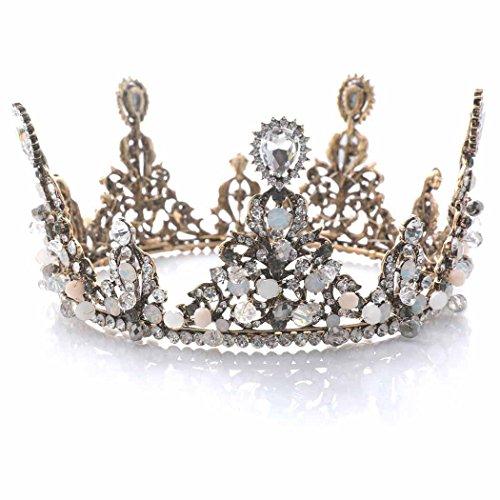 handcess Hochzeit Barock Krone Brautschmuck Krone Tiara Pricess Königin Kopfband für Braut und Brautjungfer (Königin Tiara)