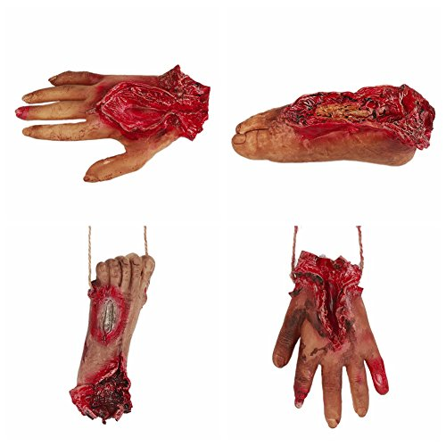 URMAGIC Halloween Scary Dekorationen Fake Dead Blutige Körperteile Requisiten Human Abgetrennter Fuß Hand & Finger Süßes oder Saures Party Prop Dekoration Haunted House Halloween Dekorationen
