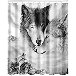 Etopfashion Rideau de douche 180 X 180 cm Textile Polyester avec 12 Anneaux Loup roi et sa femme pensent à l'avenir de leur race dans le calme de