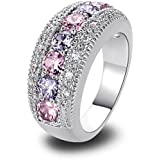YAZILIND Band Pink White Topaz Crystal White Gold Plated Ring For Women Gift