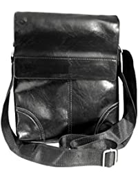 Genuine Leather - Cross Body Sling Bag For Mens/Womens/Girls Ideal For IPAD, Tablets Black