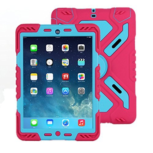 ipad 2/3/4 Hülle, Meiya multifunktionale Silikon stoßfest wasserdicht Drop robuste Fall, Heavy Duty Case, Kindersichere Hülle Kind Schutzhülle Geschenk für Apple ipad 2/3/4 Pink/Blau