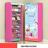 Shoe Cabinet Organizer, Mehrlagen-Kombinations-Schuhregal, Vliesspeicher-Schuhregal, 3D-Panorama-Hintergrundbild, Lagerschrank,Pink