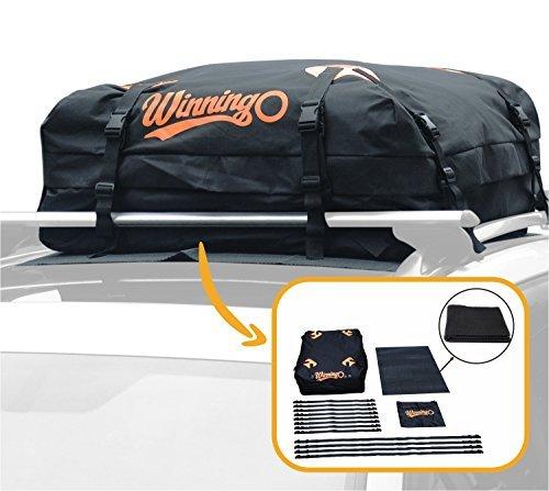 Sac de Toit de Voiture, Winningo sac de fret résistant à l'eau facile à installer les porte-bagages doux sur le toit fonctionne avec ou sans support de toit, natte protectrice libre (BLACK)
