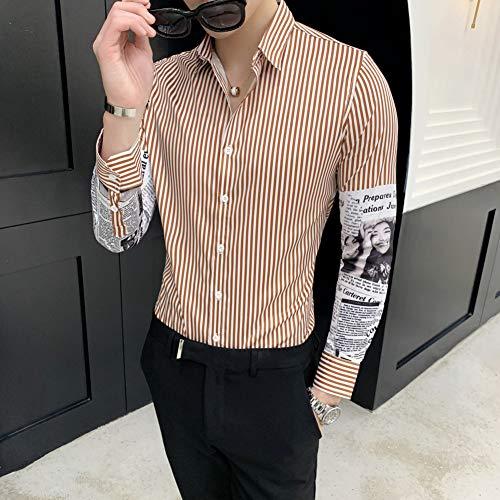 MKDLJY Herren-Hemd Streifen Designer Hemd Männer Freizeithemden Slim Fit Langarm Mode Kleid Social Men Party Club Prom Hemd -