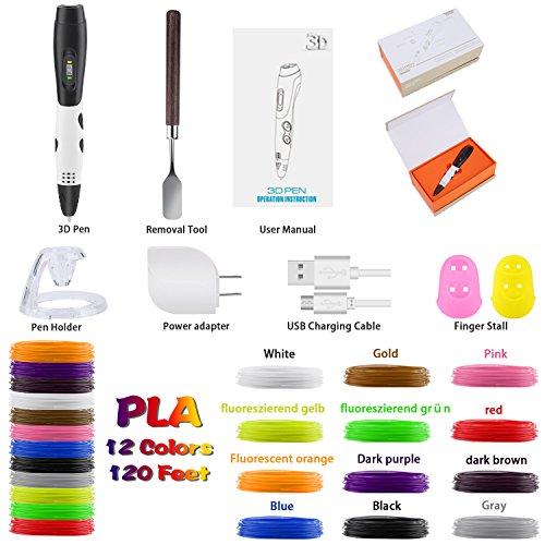3D Pen + PLA Fliament Set, Lovebay 3D Stift mit LCD-Bildschirm + 12 Farben je 3,1M, Φ1,75 mm 3d Filament - insgesamt 120 Feet, DIY Geschenk für Kinder Anfänger Erwachsene Zeichnung, kompatibel mit 1,75 mm ABS/PLA 3D Printing Material - 2