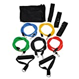 OUTERDO Training Resistance Bands Set ,PC Latex Rope Tube Exercise Bands Set for Yoga Workout Fitness With Door Anchor, Ankle Strap,Foam handles,Travel Pouch