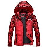 Xmiral Herren Daunenjacke Winterjacke Hooded Puffer Jacket, Steppjacke gefüttert mit Kapuze (XXL,Rot)