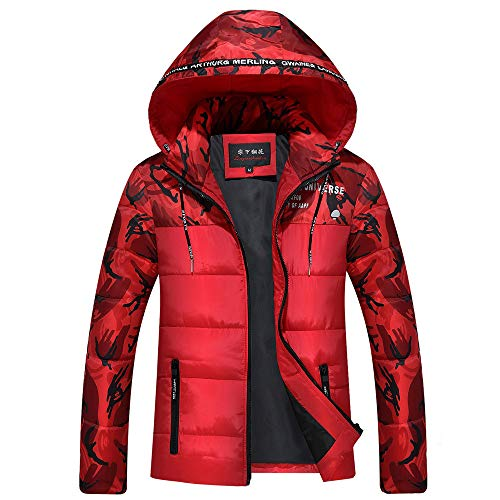 Xmiral Herren Daunenjacke Winterjacke Hooded Puffer Jacket, Steppjacke gefüttert mit Kapuze (L,Rot)