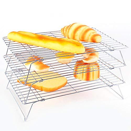 3 Ebenen, stapelbares Kühlregal, Metall, für Kuchen, Kekse, Brot, Netz, Trockenkühler, Kuchen, Backzubehör, Schwarz