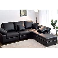 CasaStyle Carloss 5 Seater Leatherette Interchangeable L Shape Sofa Set (Black)