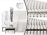 Cashmere-Stripe - flauschig weiche Kuscheldecke - wärmendes Fleece in 2 natürlichen Farbkombinationen - Maße ca. 150 x 200 cm, taupe