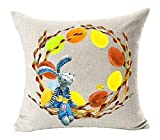 vintage cap Happy Easter Oil Painting Smile Bunny Color Egg and Butterflies Cotton Linen Square Decorative Throw Pillow Case Cushion Cover 18inchs (1)