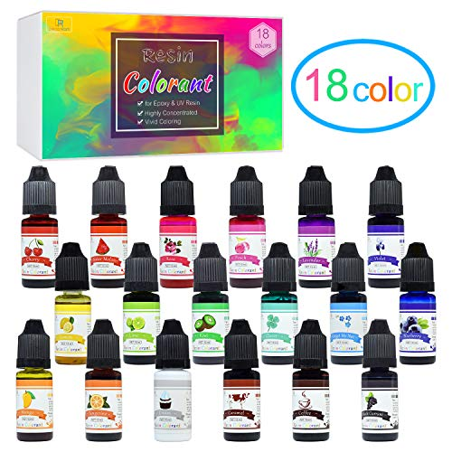 18 Coloranti per Resina Epossidica ed Resina UV - Colorante Liquido Trasparente per Gioielli Fai da Te - Pigmenti Resina Concentrato per Resina UV per Pittura, Creazioni Colorate - 10ml Ciascuno
