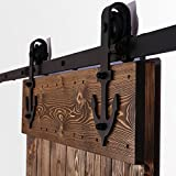 hahaemall 10ft/3,05m schwarz Kleiderbügel Holz Tür Stahl Track Schiebetür Barn Hardware Roller zum Aufhängen Single Tür-Kit