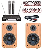 IMPIANTO KARAOKE pronto all'uso 2 CASSE BLUETOOTH + MICROFONI WIRELESS + CAVO PC + SOFTWARE VANBASCO (free edition)
