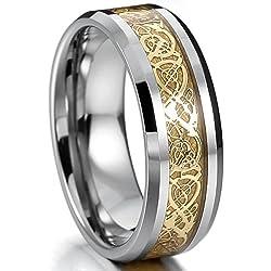 Plata Oro Dorado Tungsteno Anillo Ring Banda Venda Nudo Celta Irlandesa Dragón Alianzas Boda Talla Tamaño 14