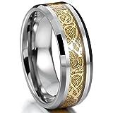 MOWOM Silber Golden Wolframcarbid Ring Band Irish Celtic Knot Irischen Keltisch Knoten Drachen Hochzeit Größe 75 (23.9)