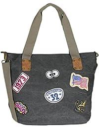 Mevina Damen Tasche mit Patches Beuteltasche Shopper Beutel Schulterriemen Henkeltasche 48x35x18 cm (B x H x T)