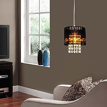 Kronleuchter / Hängeleuchte von [lux.pro]® - Modernes Design: schwarze Decken-Leuchte (Lüster) aus Stoff & Kunst-Kristall - Ø 15 cm Leuchte - 1 x E14 Sockel - stilvolle Deckenlampe für Wohnzimmer & Schlafzimmer