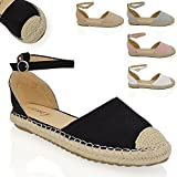 ESSEX GLAM Womens Espadrilles Ankle Strap Flat Sandals Ladies Summer Holiday Casual Shoes