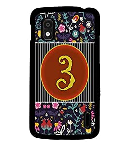 PrintDhaba Numerology Number 3 D-3089 Back Case Cover for LG GOOGLE NEXUS 4 (Multi-Coloured)
