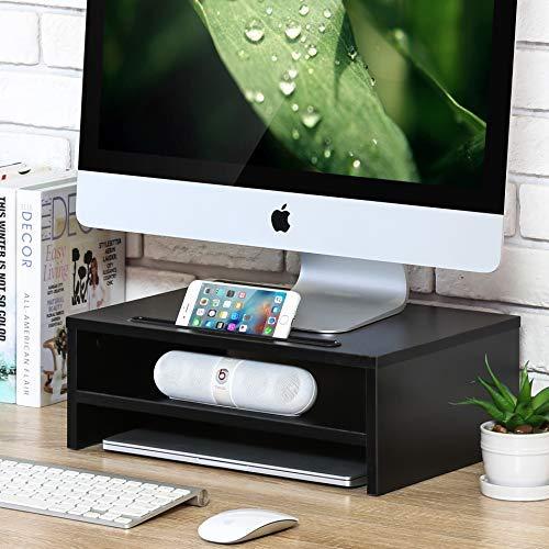 Fitueyes supporto monitor, 2 livelli, supporto per computer portatile, supporto da scrivania, monitor raiser, in legno, con slot per telefoni o tablet, partata max 10kg, nero, 38,5x28x14cm, dt203801wb