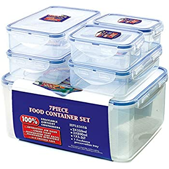 Lock U0026 Lock Storage Container, Clear/Blue, Set Of 6