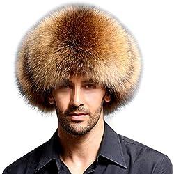 Frcolor Sombrero de Cuero Artificial Faux Fur Northeast Winter Warm Hat para Gorra de Mediana Edad (Tango Claro)
