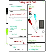 Magnetic Whiteboard Planner by DF Creations - Multi-Purpose Fridge Weekly White Board Calendar - Menu Planning, Shopping List, Reminder, Activities - 4 Free Dry Erase Markers and Extra Large Eraser
