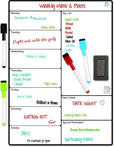 Magnetischer Wochenplaner abwischbar - Kühlschrank Kalender - Magnettafel Küche für Einkaufsliste, Menüplanung, Erinnerungen, Aktivitäten inkl. 4 Stifte & Radiergummi
