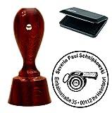 exklusives Stempelset « SCHIEDSRICHTER PFEIFE » mit Ihrer Adresse runder MAHAGONIfarbener Adressenstempel mit STEMPELKISSEN - Trillerpfeife Fussball Fußball