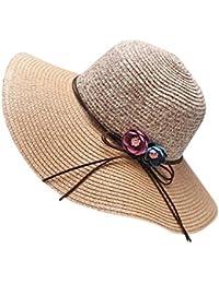 ZiXing Cappello di Paglia Cappello da Sole Cappello da Spiaggia in Paglia in  Stoffa Cappello Panama 3718b168dcb8