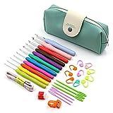 Womdee 31 Pack Häkelnadeln Set mit Tasche, 11 große Öse, Stumpfe Nadeln zum Stricken, ergonomischer Griff Häkelnadeln für Handarbeit blau